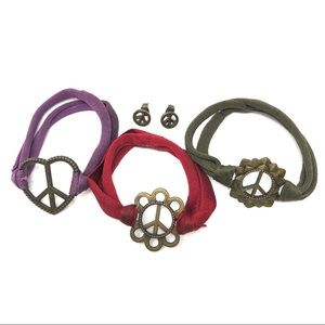 Jewelry - 4 Piece Peace Sign Stretchy Bracelets & Earrings